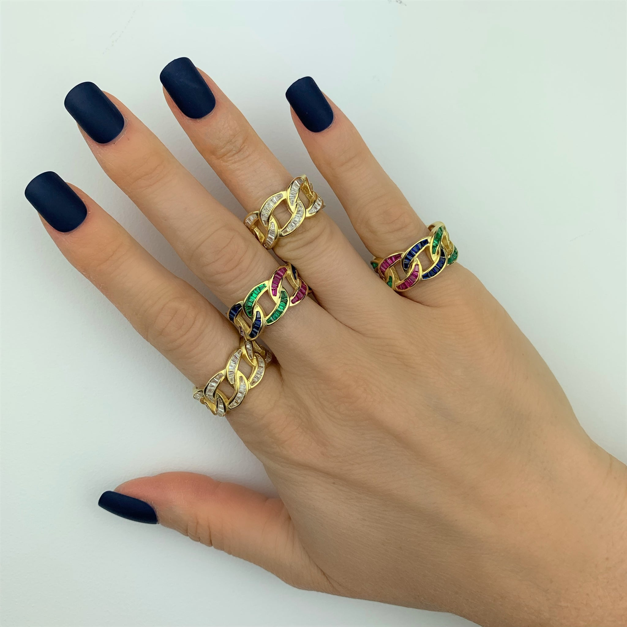 Baguette Chain Link Ring - Yellow Gold - Voare