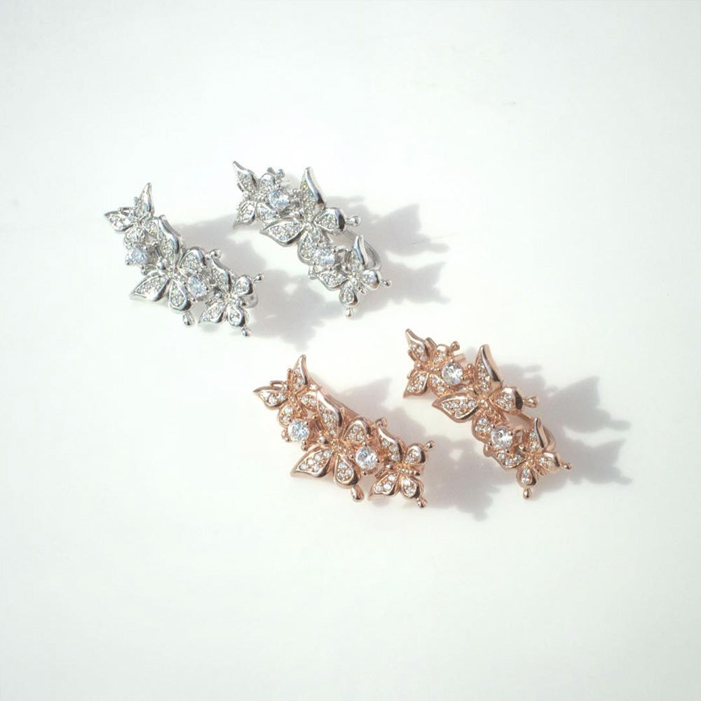 Sterling Silver Rhodium-plated Butterfly Climber Earrings Animals Butterflies