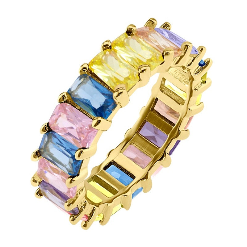 Pastel Shades Eternity Ring - Yellow Gold - Voare