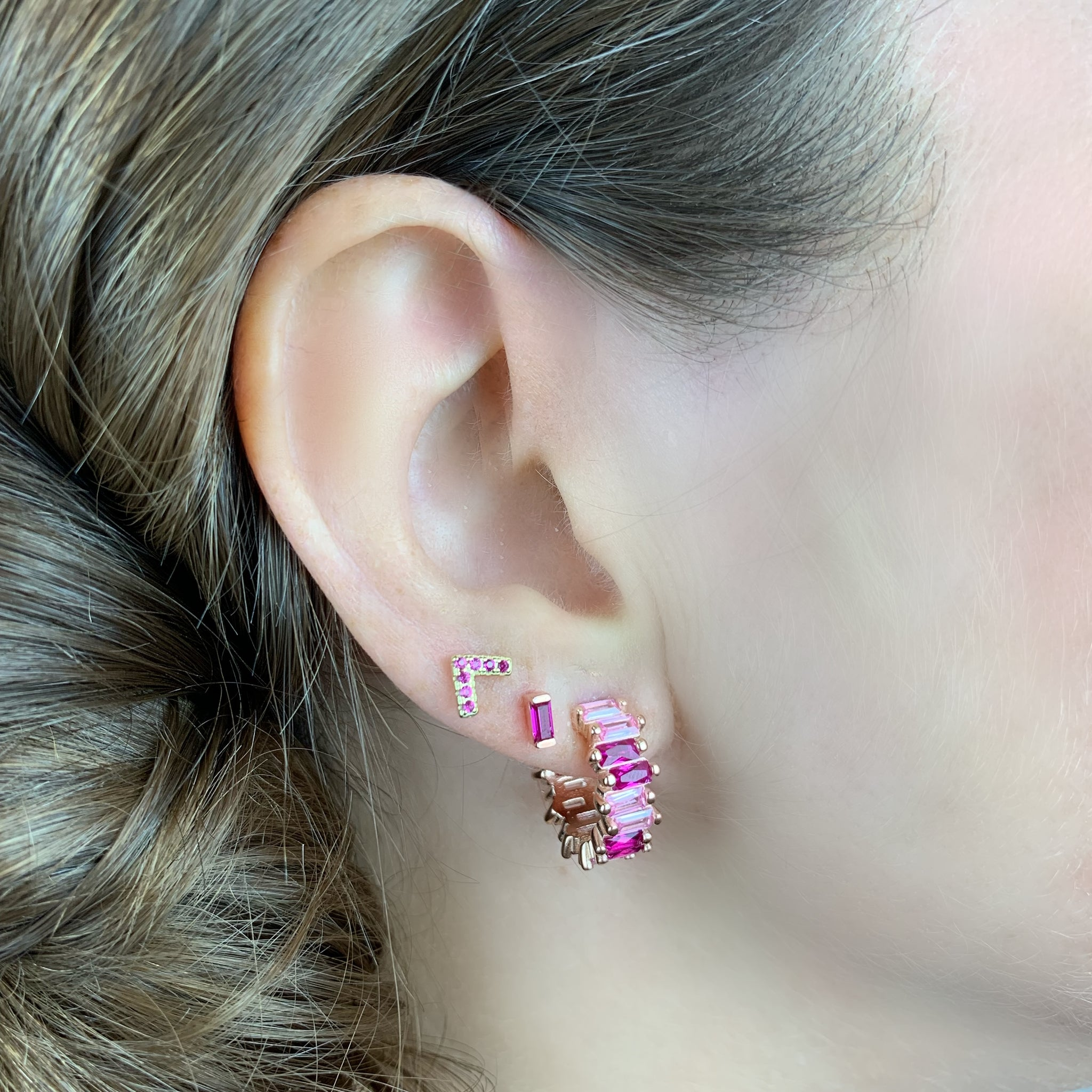 Pink Shades Hoop Earrings - Rose Gold - Voare