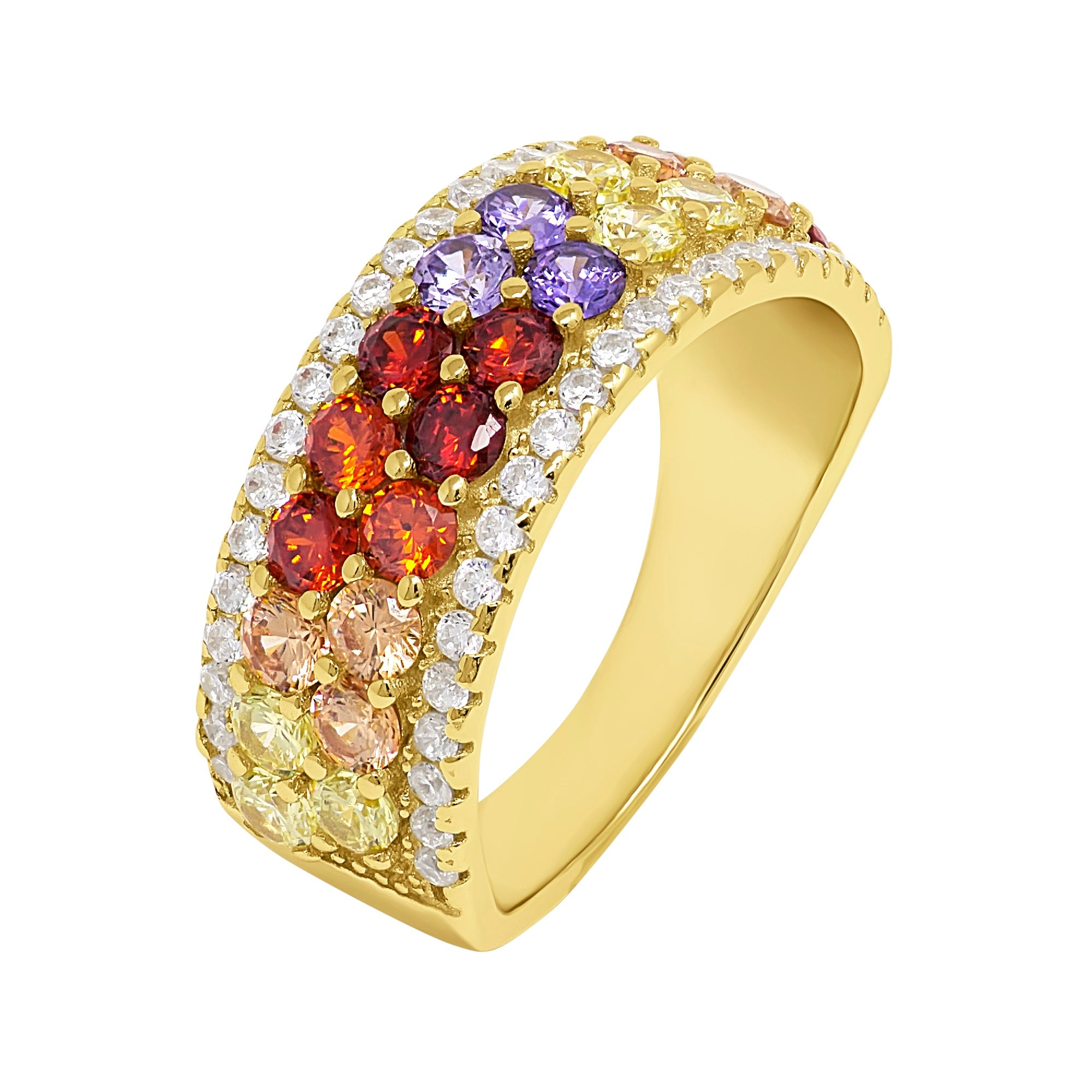 Rainbow Pave Ring - Yellow Gold - Voare