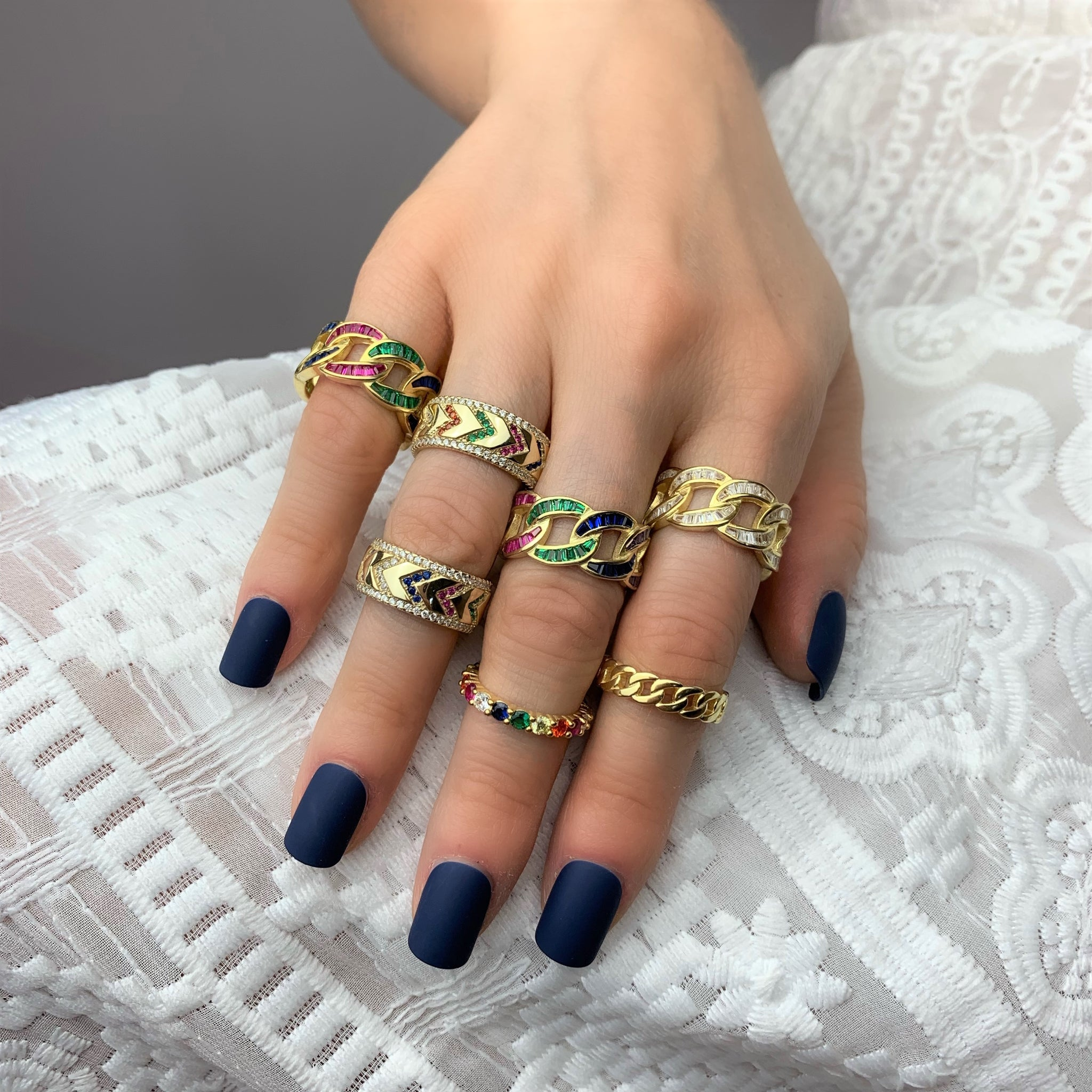Rainbow Baguette Chain Link Ring - Yellow Gold - Voare