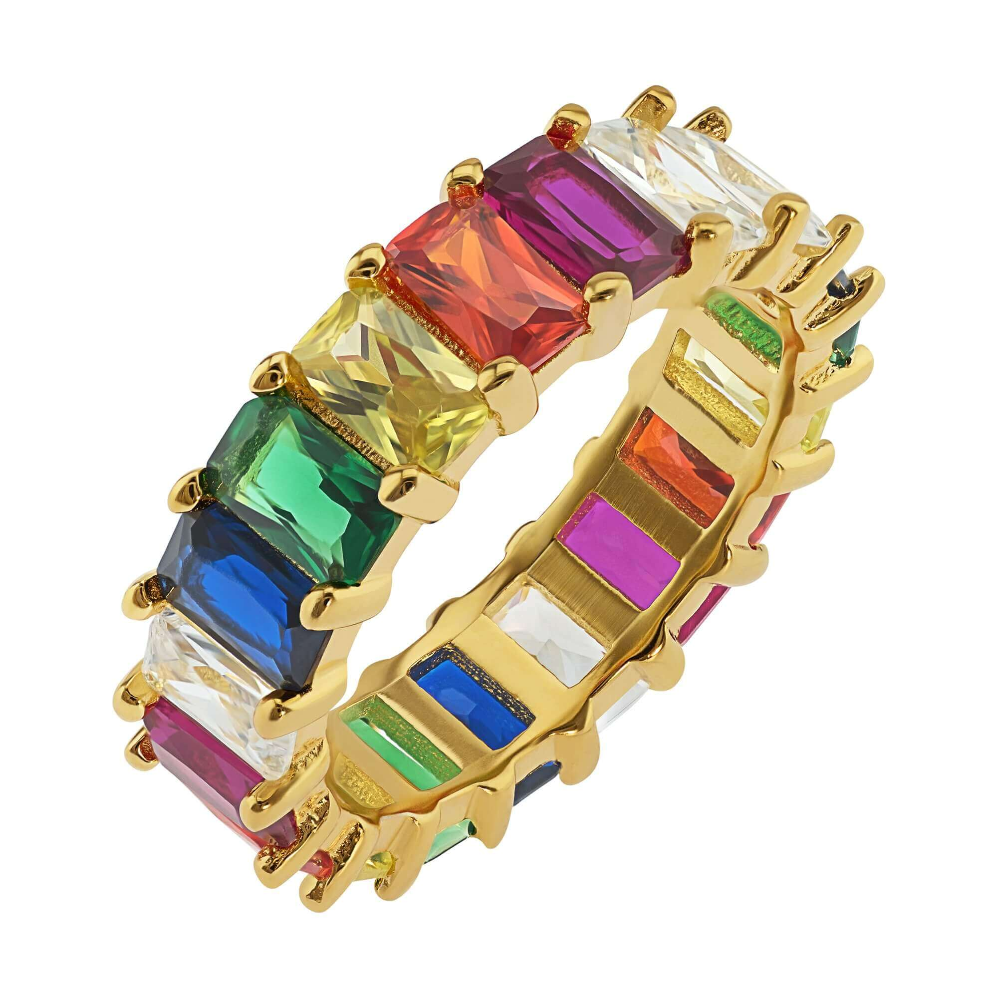 Rainbow Eternity Ring - Yellow Gold - Voare Jewelry