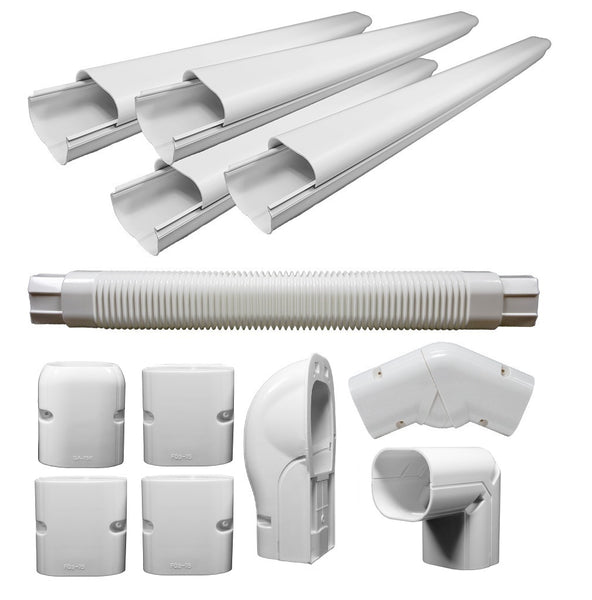 "3"" Decorative PVC Line Cover Kit for Mini Split Air Conditioners & Heat Pumps"