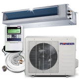 Pioneer® 18,000 BTU 19 SEER Ceiling Concealed Ducted Mini-Split Air Cond Heat Pump System Full Set