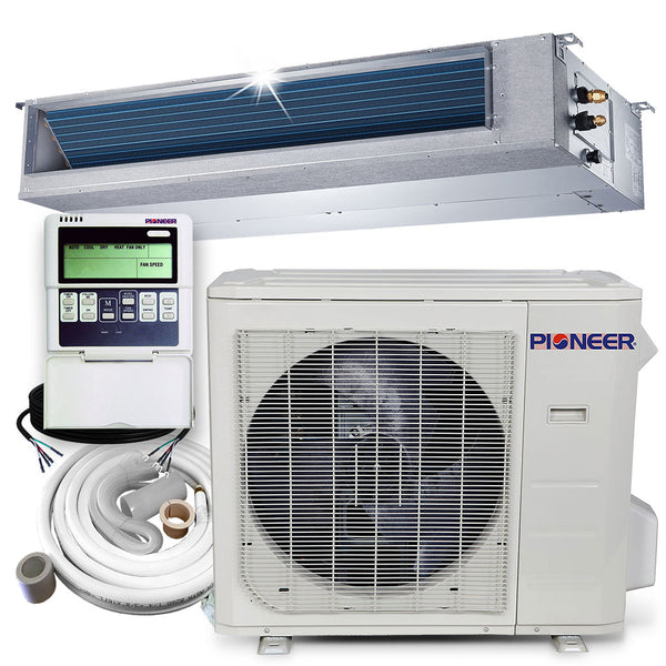 Pioneer® 24,000 BTU 21.5 SEER Ceiling Concealed Ducted Mini-Split Air Cond Heat Pump System Full Set