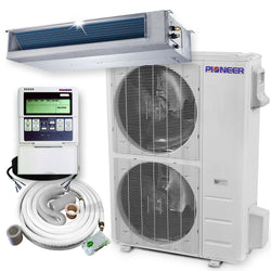 Pioneer® 48,000 BTU 17.4 SEER Ceiling Concealed Ducted Mini-Split Air Cond Heat Pump System Full Set