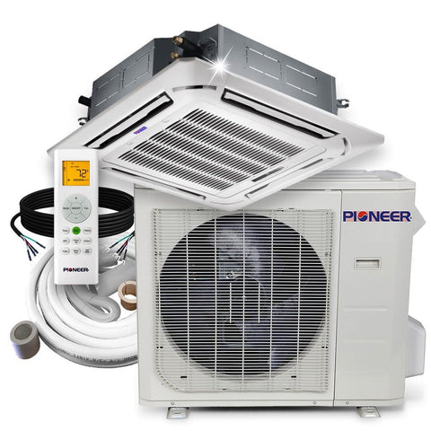 Pioneer® 24,000 BTU 20 SEER 8-Way Slim Cassette Mini-Split Air Cond Heat Pump System Full Set