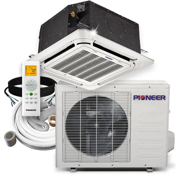 Pioneer® 12,000 BTU 21.5 SEER 8-Way Compact Cassette Mini-Split Air Cond Heat Pump System Full Set