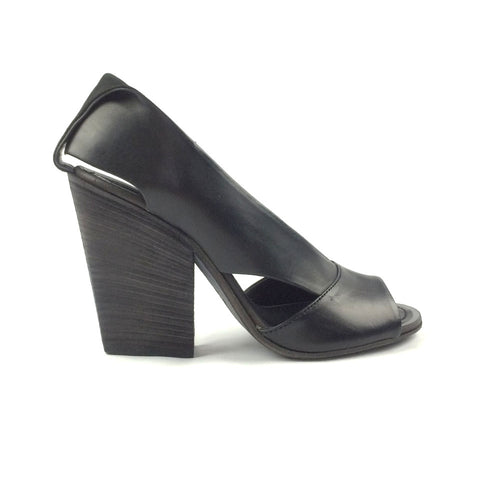 Black Wide Heel Open Toe