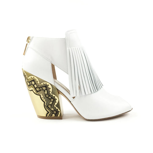 White Fringed Ankle Boots