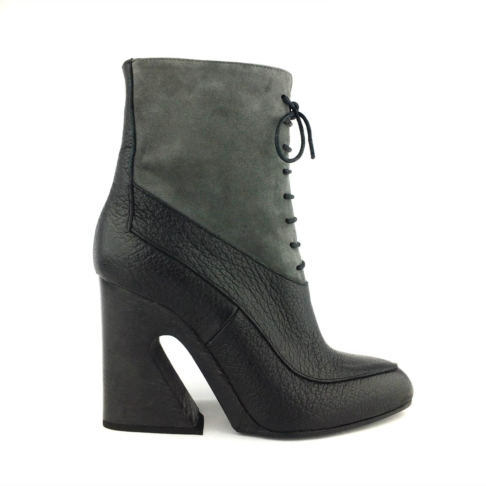 Black / Grey Lace-Up Ankle Boots