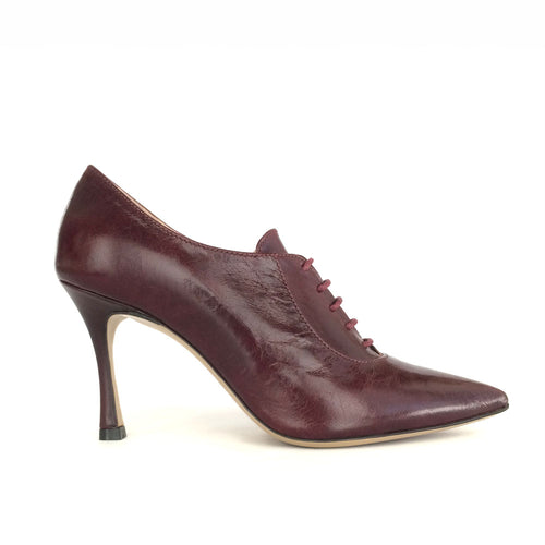 Burgundy Pointy Lace-Up