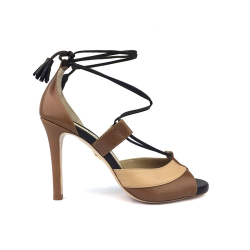 Tri-Color Ankle Tied Sandal