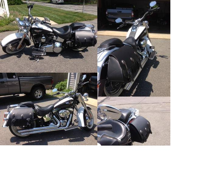 Harley Davidson Fatboy with US Saddlebag black leather motorcycle saddlebags and fringe.