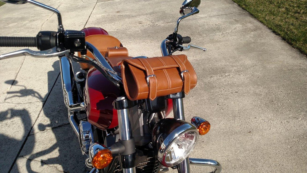 Red Indian Scout with our Classic Desert Tan Leather Tool Bag Mounted on the front of the bike