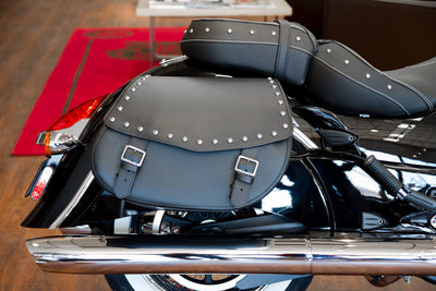 Showroom featuring black leather studded saddlebags on an Indian Chief Classic