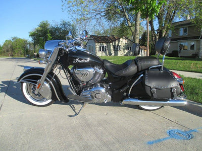 Black Indian Chief Classic & Black Leather Motorcycle Saddlebags Studded