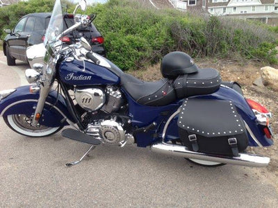 Blue Indian Chief Classic & Black Leather Motorcycle Saddlebags Studded