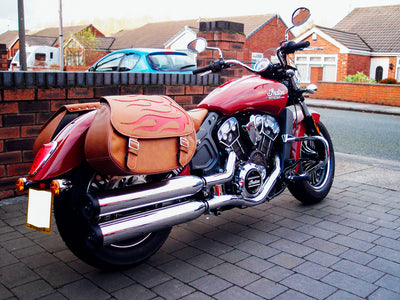 Red Indian Scout - Tan Leather Saddlebags & Red Flame Inlay