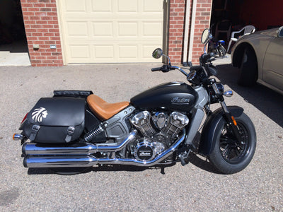 Black Indian Scout with Black Leather Saddlebags and a White Leather Inlay Warrior Head