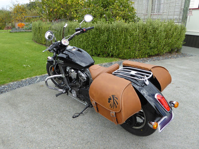 Desert Tan and Black Leather Saddlebags mounted to Black Indian Scout Motorcycle rear view