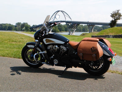 Desert Tan and Black Leather Saddlebags mounted on a Indian Scout Motorcycle