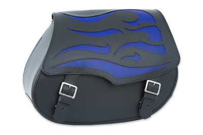 Black Leather Motorcycle Saddlebags - Blue Ghost Inlay