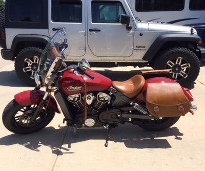 Classic Tan Leather Saddlebags on Red Indian Scout Motorcycle side view