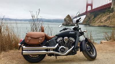 Classic Tan Leather Saddlebags on Black Indian Scout Motorcycle Golden Gate Bridge in background