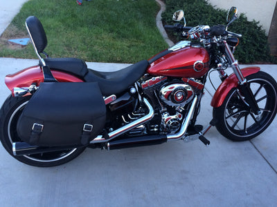Harley Davidson Breakout with red paint job and US Saddlebag's signature classic black leather saddlebags