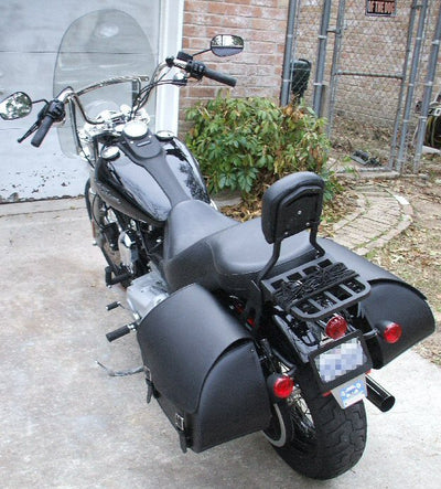 Harley Davidson Dyna Street Bob with black paint job and US Saddlebag's signature classic black leather saddlebags