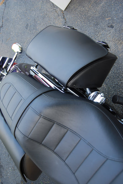 Harley Davidson Dyna Super Glide with blue paint job and US Saddlebag's signature classic black leather saddlebags.