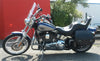 Harley Davidson Softail Standard with blue and silver paint job and customized with US Saddlebag's signature classic black leather saddlebags