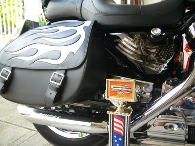 Harley Davidson Sportster with black leather saddlebags and a silver inlay by US Saddlebag Co. Award Winning