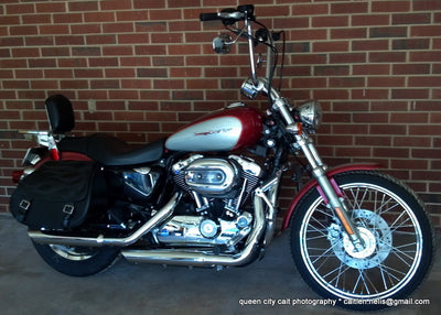 Harley Davidson Softail Custom with black motorcycle saddlebags and a custom black flame leather flap