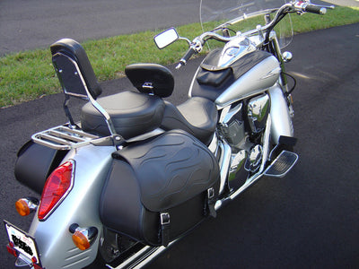 Honda VTX 1800R with black motorcycle saddlebags and a custom black flame leather flap