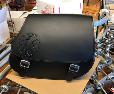 Black Leather Motorcycle Saddlebags - Black Indian Warrior Inlay