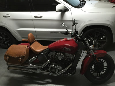 Studded Desert Tan Leather Saddlebags mounted on a Red Indian Scout