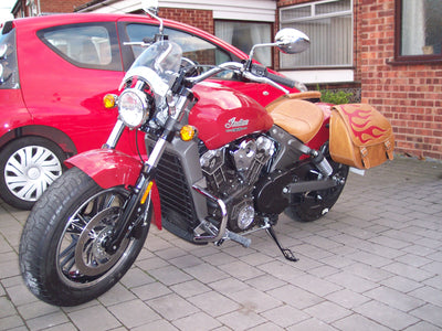 Red Flame and Desert Tan Leather Saddlebags on Red Indian Scout front view