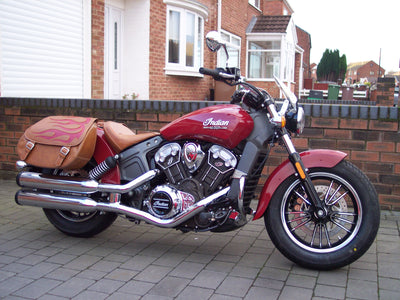 Red Flame and Desert Tan Leather Saddlebags on Red Indian Scout