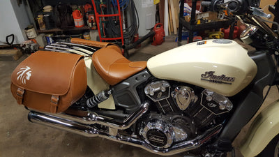 Indian Warrior - Tan & Blue Leather Motorcycle Saddlebags