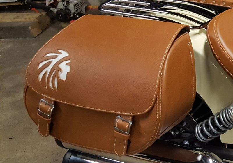 White Leather Indian Head Inlay on Tan Leather Saddlebags and Mounted on a White Indian Scout