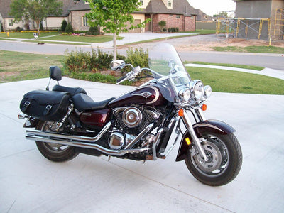 Kawasaki Vulcan 1600 with Black Leather Motorcycle Saddlebags and Embossed Inlay pattern