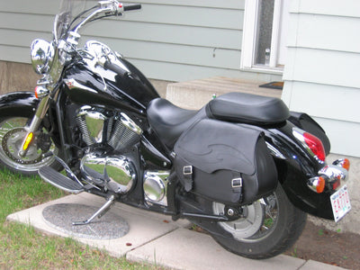 Kawasaki Vulcan 900 with Black Leather Motorcycle Saddlebags and Embossed Inlay pattern - backside angle