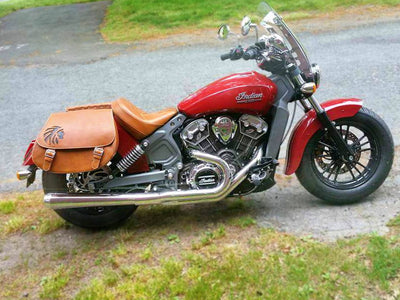 Red Indian Scout Motorcycle with Black Indian Warrior on Desert Tan Leather Saddlebags