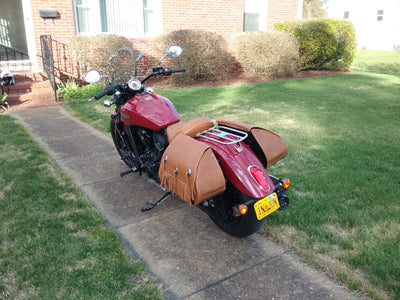 Tan Leather Saddlebags with Fringe on a Red Indian Scout Motorcycle rear view