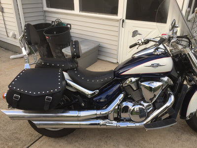 Studded Black Leather Motorcycle Saddlebags mounted to Suzuki C109R BLVD with blue tank and white accents