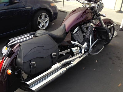 Victory Kingpin with Black Leather Motorcycle Saddlebags and Embossed Inlay pattern