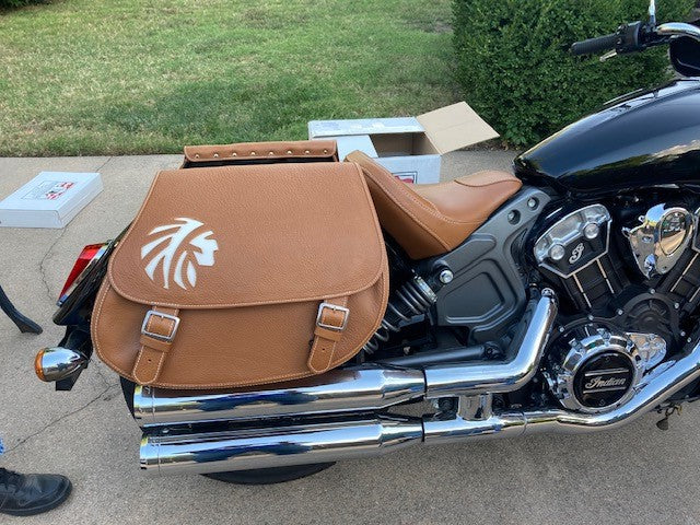 Indian Warrior - Desert Tan & White Leather Motorcycle Saddlebags